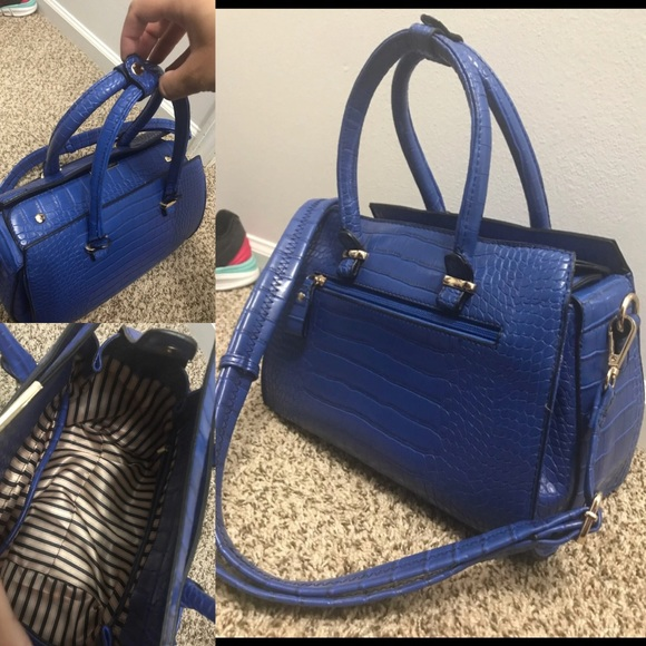 Macy's Handbags - Vibrant Blue Structured Faux Snake Skin Purse